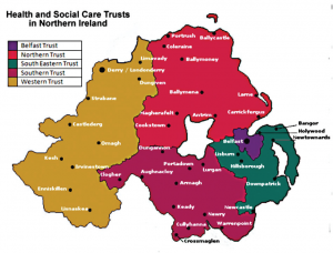 Map of Health and Social Care Trusts in Northern Ireland