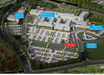 Aerial shot of Omagh Hospital and Primary Complex