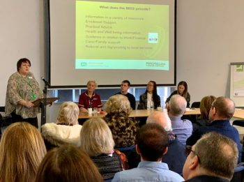 Staff presenting at Living with and Beyond Head and Neck Cancers Event