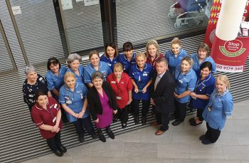 Staff from Cardiac Assessment Unit, Omagh Hospital with Dr Anne Kilgallen, Western Trust Chief Executive and Mr Sam Pollock, Western Trust Chair