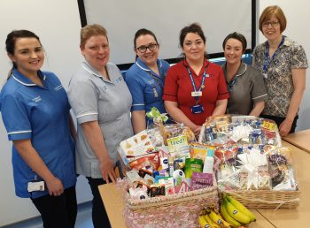 Maternity Unit staff at South West Acute Hospital with 'Staff Refuel Pitstop' goods and foods