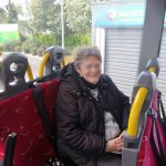 Service User Fiona on an outreach bus journey to the beach