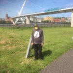 Service Users taking part in a walk past the Peace Bridge