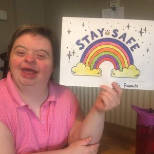 Roberta Cochrane with her Stay Safe Poster