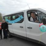 Sean and his Mum with the Omagh Centre Birthday Bus