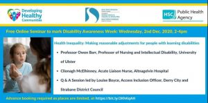 Online Seminar for Disability Week 2020