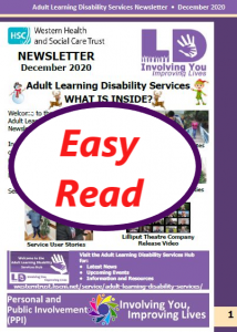 Easy Read Newsletter December 2020 Cover