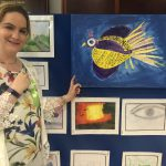 Claire Hamill with her painting